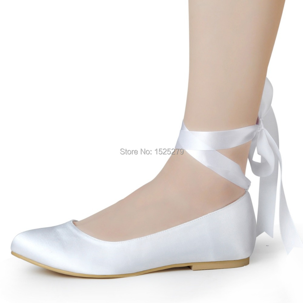 0e4317068 EP11105 White Ivory Woman wedding flats Lace up Round Toe Comfort Ribbon tie  ballet Satin Lady girls evening party bridal Shoes-in Women's Flats from  Shoes ...