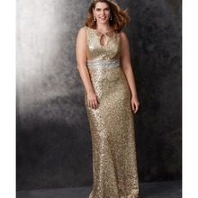 Simple Gold Sequin Keyhole Neck Sheath Bridesmaid Dresses with Sash Sleeveless Floor-Length O-Neck Party Dresses