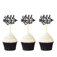 12pcs Black and Gold Glitter Wild One Cupcake Toppers Children Birthday Party Decors Baby Shower Cake Topper