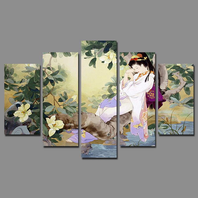 Retro Japan Style Sleeping Beauty Pictures Decoration Flowers Tree Canvas Painting Japanese Wall