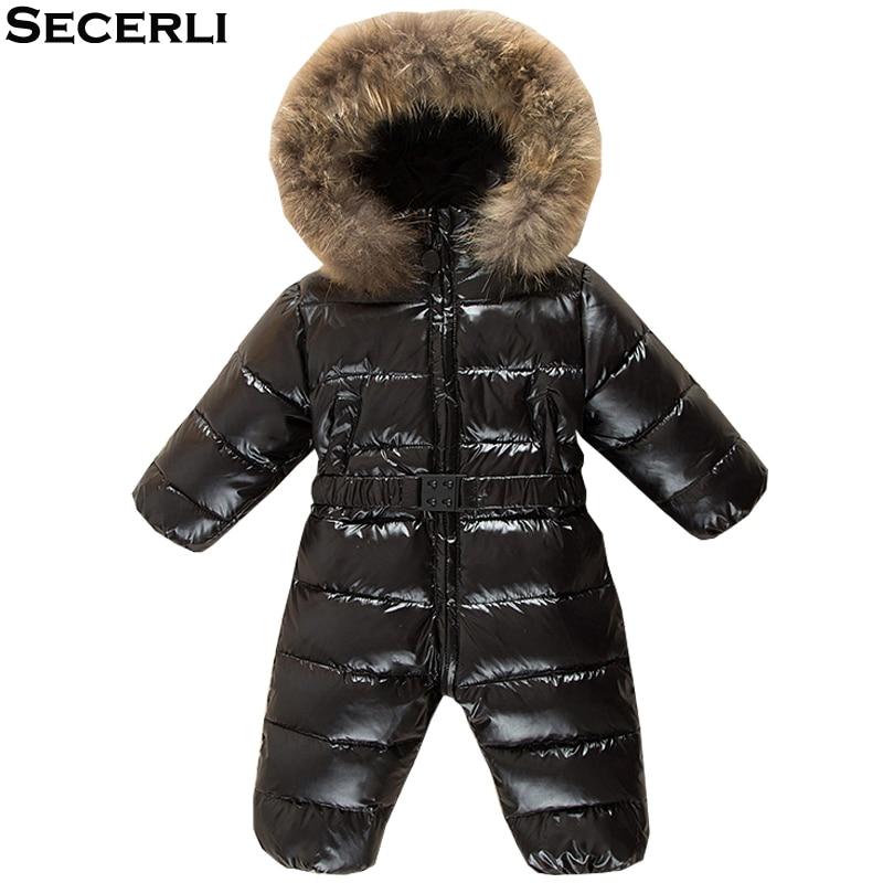 цена на Baby Snowsuit 12M 24M 36M Girls Boys Winter Romper Warm Hooded Kids Windproof Jumpsuit Toddler Baby Children Ski Suit Overalls
