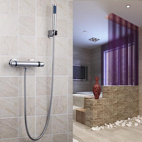 Thermostatic 53956 Wall Mount Chrome 8 Brass Rain Shower Head Bathroom Bathtub Basin Sink Shower Set Torneira Tap Mixer bathroom chrome shower faucet set with thermostatic mixer valve wall mount 8 ultrathin rain showerhead handshower