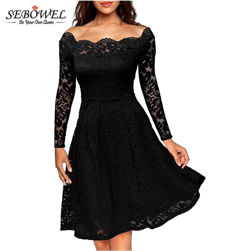 92f29a487613 SEBOWEL 2018 Elegant Black Long Sleeve Lace Dress Women Knee Length Off  Shoulder Short Party Dress Slash Neck Tunic Skater Dress