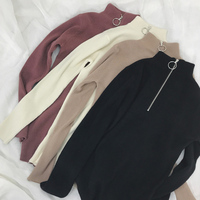 Zipper Turtleneck Solid Women Sweater Skinny Elastic Knitted Full Sleeve Pullover Feminino Soft Femme Spring Jumper High Quality 4