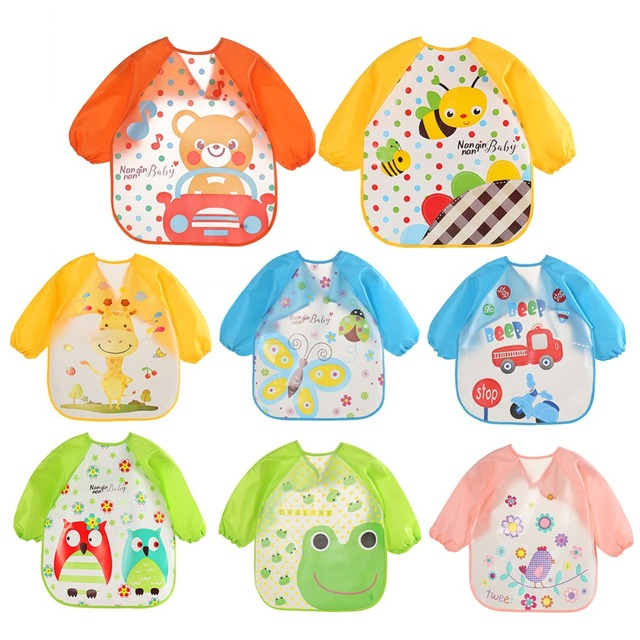 Baby Feeding Bibs Longe Sleeve Waterproof ArtApron Coverall Cartoon Smock Bib Burp Clothes Infant Toddler Feeding Baberos bavoir