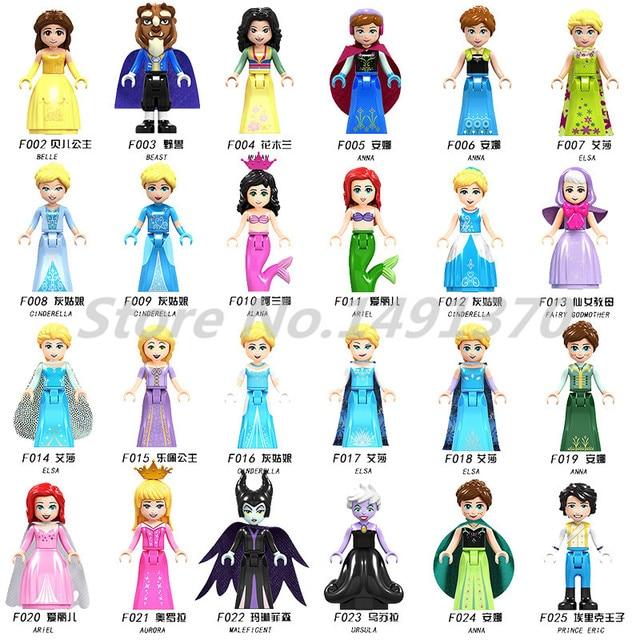 Princess Elsa Figure Girl Friends Series 24pcs/lot Building Blocks Snowman Elf Fairy Tale Crnelerella Bricks Toys For Children