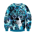 Hot 2017 Skulls printing Women/men 3d sweatshirt print blue roses Sunflower and butterfly long sleeve hoodies autumn pullover
