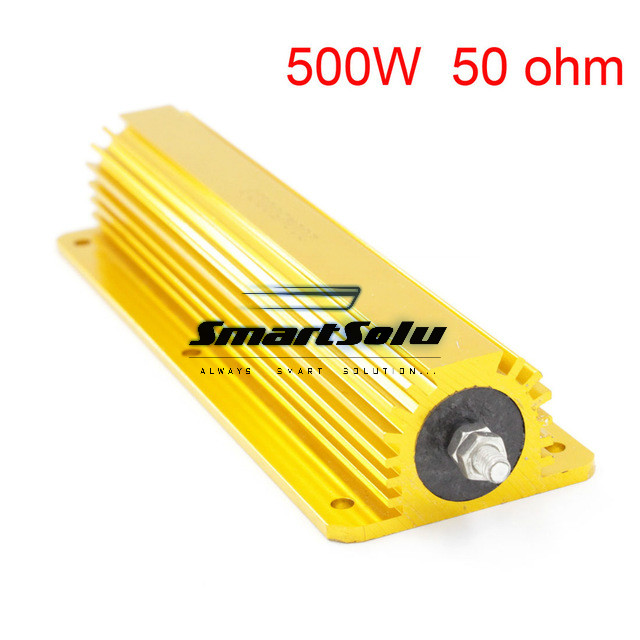 50 ohm 500W Watt Power Aluminum Metal Shell Case Gold Resistor цены