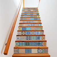 13 Pcs/Set Creative DIY 3D Stairway Colorful Stickers Ceramic Tiles Pattern for House Stairs Decoration Staircase Wall Sticker