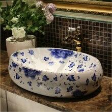 Estilo antiguo, Europeo China hecho a mano Lavabo azul y blanco lavamanos para baño artístico del Gabinete de cerámica de la cuenca