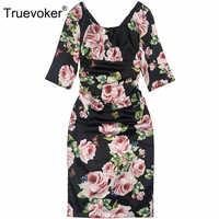 Truevoker Summer Designer Dress Women's High Quality Rose Flower Printed Plus Size 2XL Black Draped Vestido