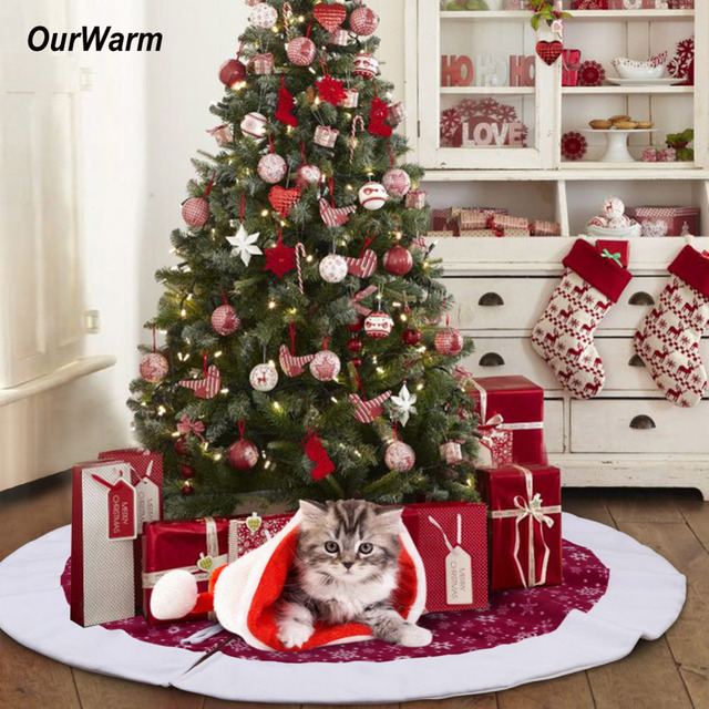 Ourwarm 48inch christmas tree skirt velvet snowflake xmas for New home christmas decoration