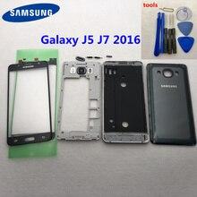 Pour Samsung J5 J510 J7 J710 2016 boîtier complet avant milieu cadre plaque lunette batterie couverture arrière porte étui J510F J710F + verre avant