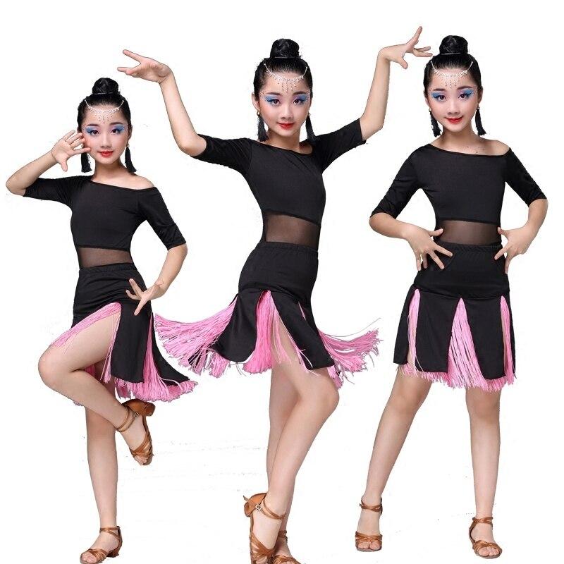 Latin Dance Competition Ballroom Tango Skirts And Dresses Girls Children Costume For Kids Salsa Sequin Dress Fringe Kid Child