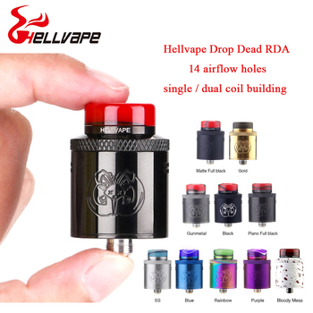 Hot sale Hellvape Drop Dead RDA 24mm diameter wi/ 14 Side Airflow Holes &Single Coil/ Dual Coils RDA BF Squonk Pin VS Dead Rabbi