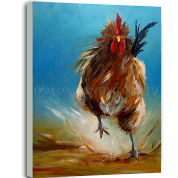 Skilled Artist Handmade Rushing Rooster Oil Painting on Canvas Hand-painted Funny Animal Rooster Oil Painting for Living Room