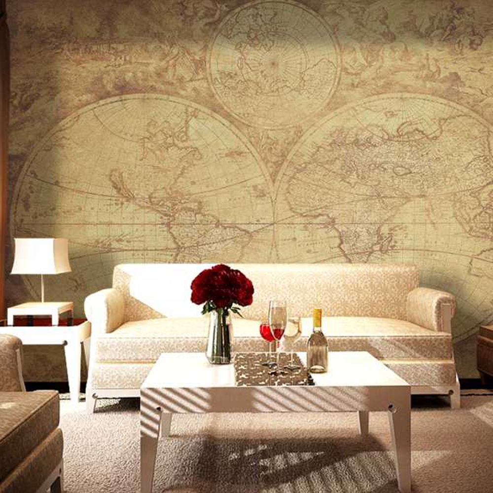 An old version of longitude and latitude map livingroom background ...