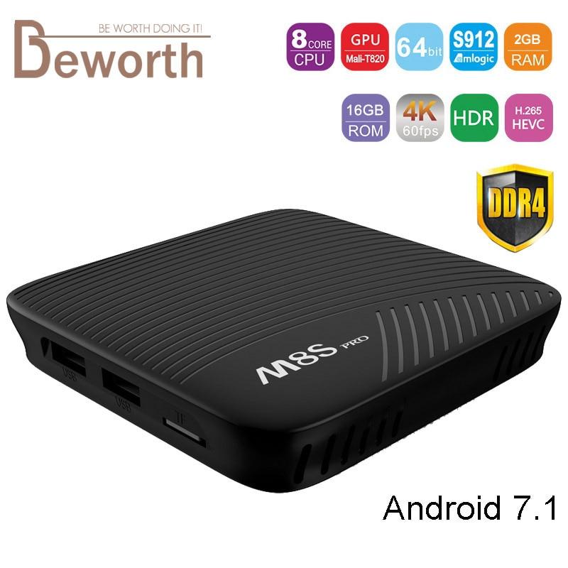 5pcs Mecool M8S Pro Smart TV Box Android 7.1 2GB DDR4 RAM 16GB ROM Amlogic S912 Octa Core Media Player Dual Wifi Gagibit 2G 16G 2gb ram 16gb rom android 6 0 smart tv box s912 octa core dual wifi uhd 4k zoomtak u plus