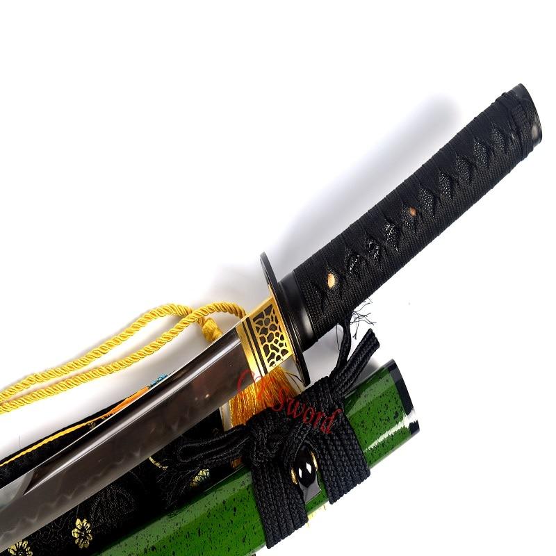 Clay templado Katana T 10 de acero japonés Wakizashi espada UNOKUBI ZUKURI hoja-in Espadas from Hogar y Mascotas    3