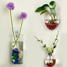 Настенный стеклянный гидропонный цветочный прозрачный контейнер для воды, подвесная стеклянная ваза, цветы, украшение для дома, декор из стекла в виде сердца