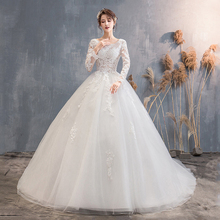 White Robe De Mariee Appliques Wedding Gowns 2019 Long Sleeve Lace Bridal Dresses Elegant Ball Gown With Train