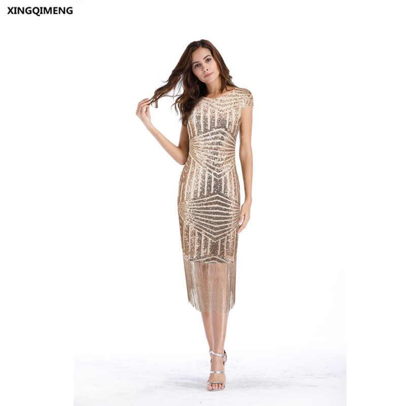 a1df7e0bc00 В наличии Шампанское блестками коктейльные платья с кисточкой элегантный короткое  платье для вечеринки Chic Sexy торжественное