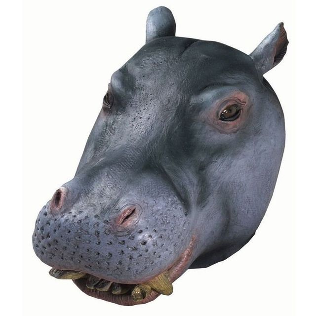 Creepy Hippo Latex Head Mask Cosplay Animal Zoo Halloween Party Theater Costume