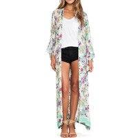 2017 Summer Women Open Front Floral Printed Loose Casual Kimono Long Tops Cardigan Maxi Coat Jacket