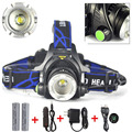Zoom Rechargeable Headlight 18650 Led Headlamp Waterproof XM-L T6 3800LM Head Lamp Light +2x 3.7v 18650 Battery + Charger