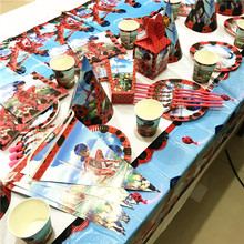 65Pcs/lot Cartoon Miraculous Ladybug Boy Girl Birthday Party Decoration Wedding Paper Cup Plate Straw Wedding Blowout Supply