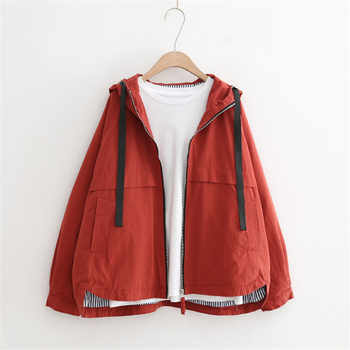 Spring Autumn Vintage Hooded Jacket Women Windbreaker Big size Short Coat Women Harajuku Loose Basic Coats Long Sleeve Outerwear - DISCOUNT ITEM  51% OFF All Category
