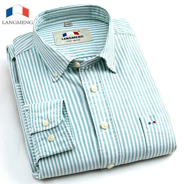 LANGMENG 100% хлопок Новый 2016 модный бренд рубашки мужчины Оксфорд рубашки с длинным рукавом повседневная рубашка для мужчин camisas masculinas