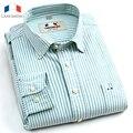 LANGMENG 100% algodón Nuevo 2016 de la marca de moda camisa masculina Oxford camisas de vestir de manga larga camisa casual para hombres camisas masculinas