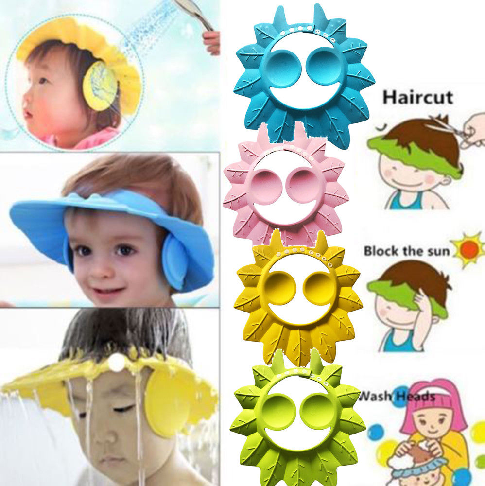 Adjustable Soft Baby Shower Cap Baby Care Bath Protection For Kid Baby Shower Cap Candy Color Multicolor Soft Cap Baby hat