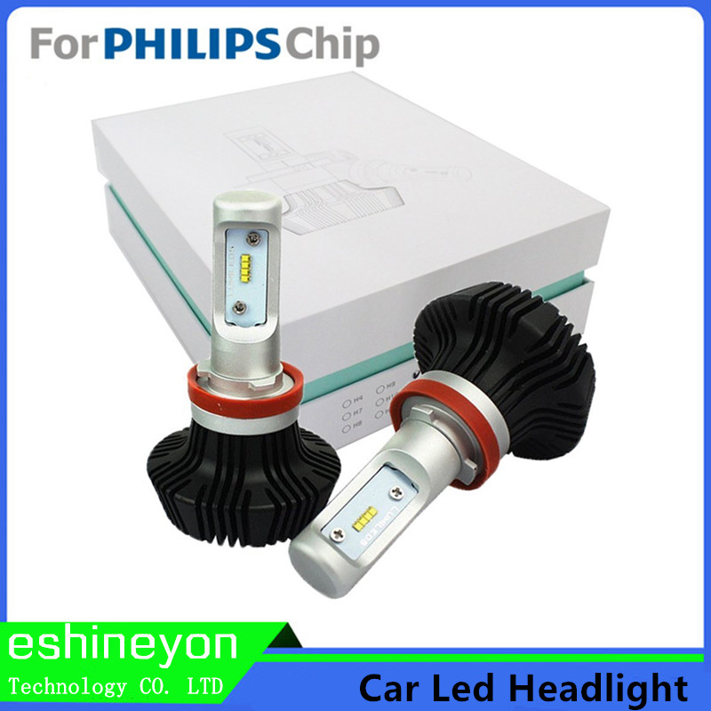 ФОТО Car LED Headlight Kit H1 H3 H4 H7 H9 H11 9005 9006 HB4 9007 H13 High/Low Beam Bulbs For Philips-ZES Chips Replace Light Source