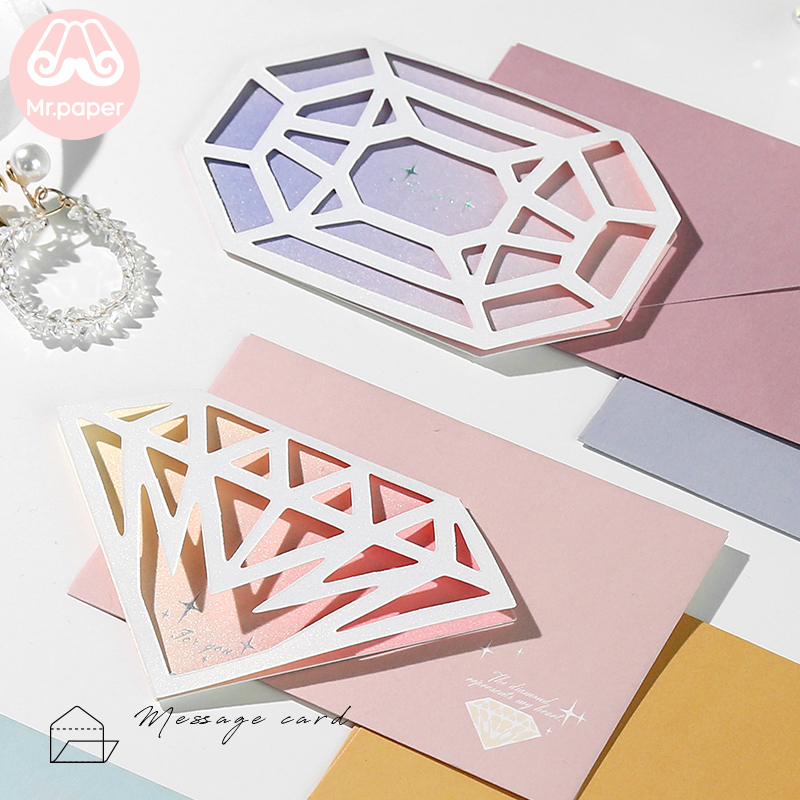 Mr.Paper 6 Designs Creative Diamond Greeting Cards With Envelopes For Birthday Valentine' Day Wedding Party Deco Gifts Cards