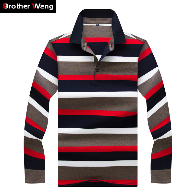 2019 Spring New Men's Long-sleeved   Polo   Shirt Business Fashion High Quality Striped Casual   Polo   Shirt Male Brand Clothes