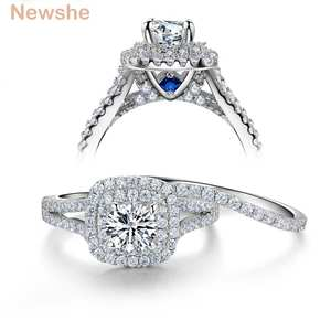 Newshe Jewelry Wedding-Ring-Sets Stones Victorian-Style 925-Sterling-Silver Blue-Side
