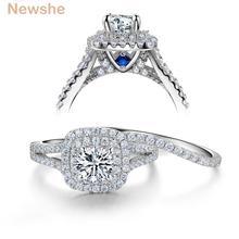 Newshe 2 adet katı 925 ayar gümüş kadın düğün yüzüğü setleri viktorya tarzı mavi yan taşlar klasik takı kadınlar için