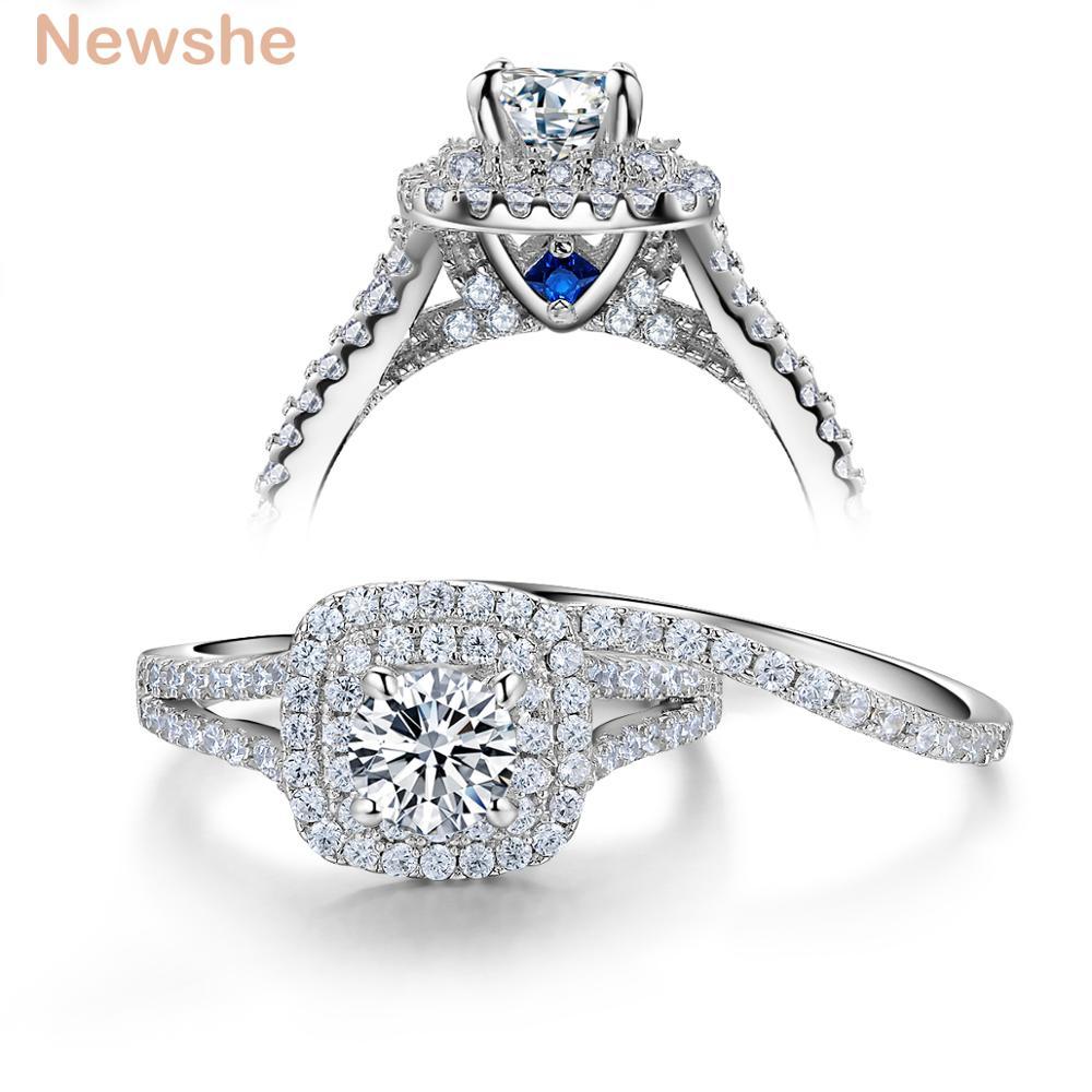 Newshe 2 pçs sólido 925 prata esterlina feminino conjuntos de anel de casamento estilo vitoriano azul lado pedras clássico jóias para mulher