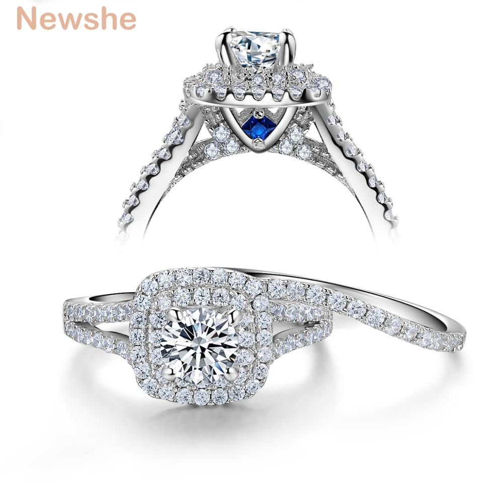 Newshe 2 piezas sólido 925 mujeres de plata esterlina anillo de boda establece victoriano azul piedras laterales joyería clásica para mujeres