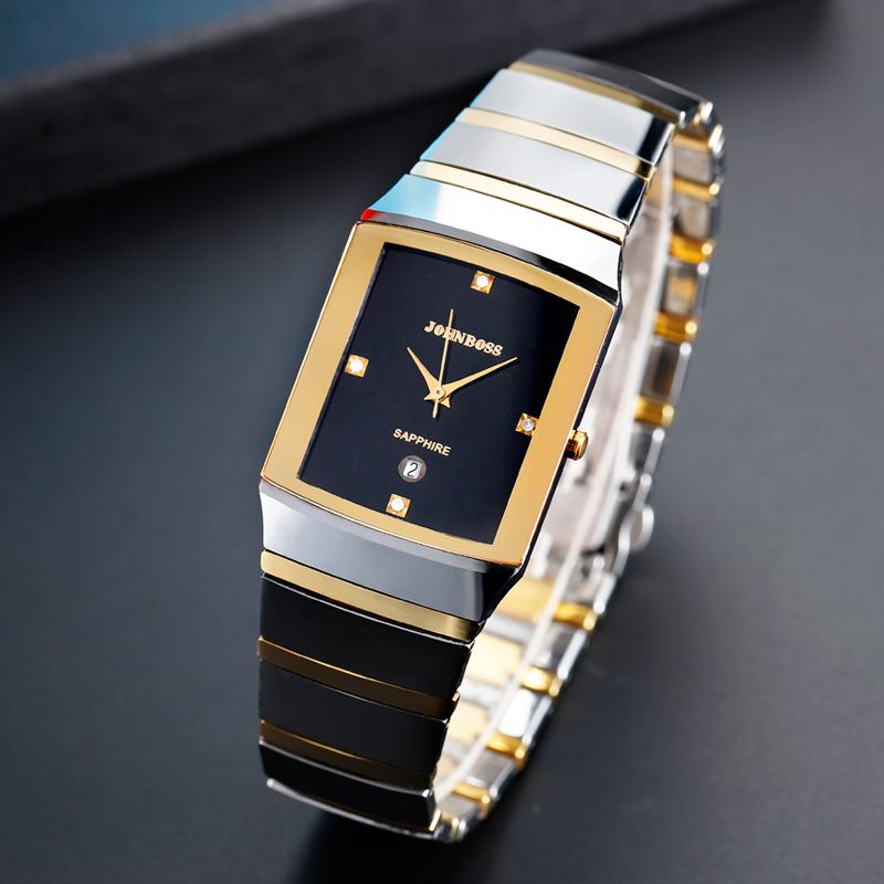 Rectangle Business Tungsten Steel Watch Men Swiss Move Waterproof Sapphire Crystal Scratch Resistant For Whole Watch Couple