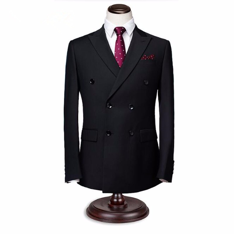 10.1Black men suits jacket double breasted groom wedding dress jacket elegant gentleman formal work business suits jacket