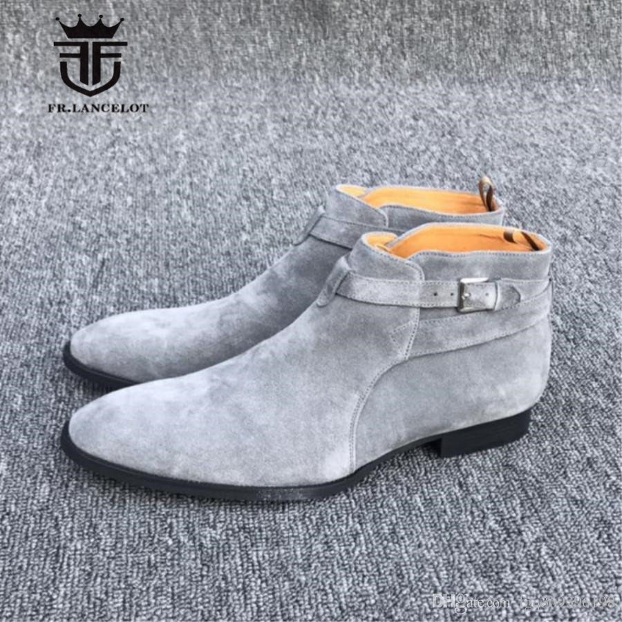 Handmade Customized Pointed Toe Gray Short Ankle Cross Straps Jouhpur Causal Suede Boot Wedge Cow Leather Wedding Luxury Shoe