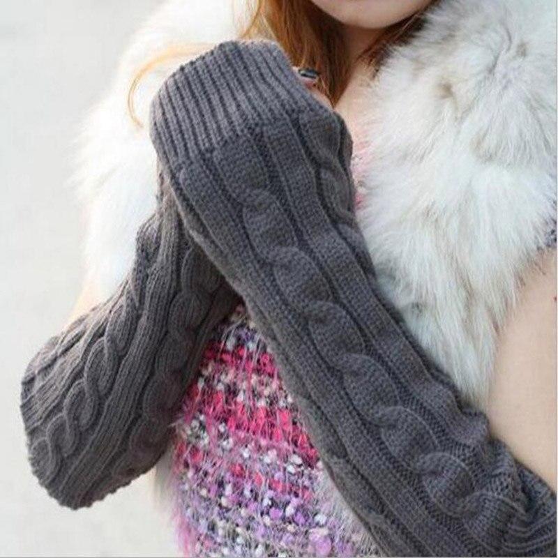 Women Fashion Knit Twist Flowers Fingerless Mittens Winter Female Wool Warm Half Finger Typing Touch Screen Gloves Guantes C6