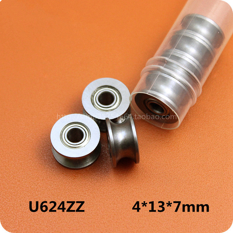 10pc 624UU U Groove HCS Guide Pulley Rail Ball Bearings Wheel Roll 4MM*13MM*7MM tv0630 tv0630vv v groove pulley ball bearings 6 30 8 mm track guide roller bearing