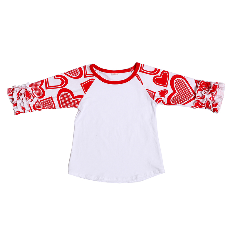 ФОТО Cute Baby Girls Ruffles Sleeve Tees Sweet Kids Girl Cotton T-shirts Children Tops Wholesale 5pcs/lot