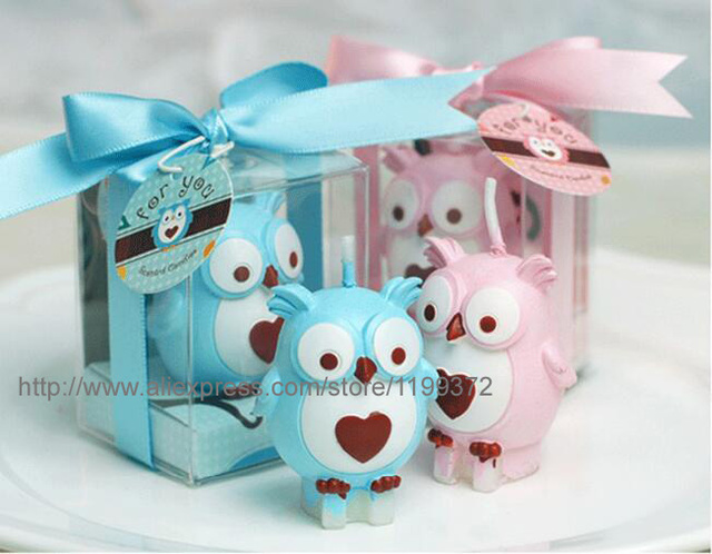 100pcslot Free Shipping Baby Shower Favors Birthday Part Owl Candle