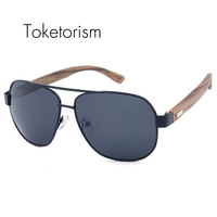 Toketorism fashion ebony zebra wooden sunglasses vintage polarized aviation shades men