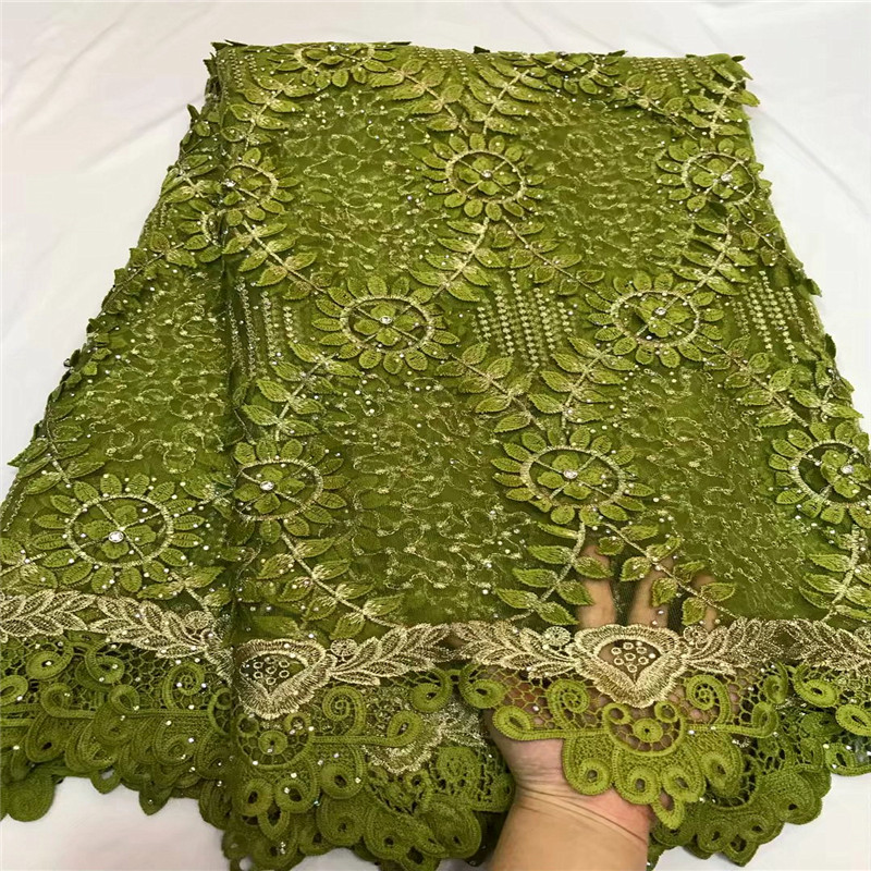 Green African Lace Fabric 2018 High Quality Lace Guipure Lace Fabric With Stones Embroidery Cord Lace